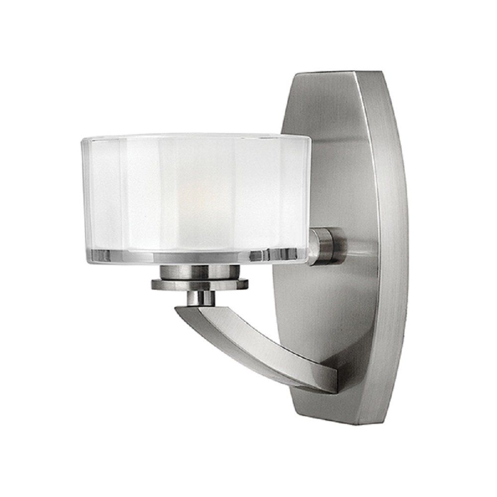 Meridian Art Deco Brushed Nickel Wall Light With Faceted Glass Shade Sconces Bathroom Wall Sconces Bathroom Sconces