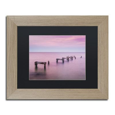 """Trademark Art 'Jetty No More' by Michael Blanchette Framed Graphic Art Size: 16"""" H x 20"""" W x 0.5"""" D, Matte color: Black"""
