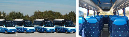 MICROBUS 21-25 PLAZAS  Microbus de similares características a los autocares, muy amplio en el interior, sus butacas se desplazan al centro ofreciendo gran sensación de espacio y confort.