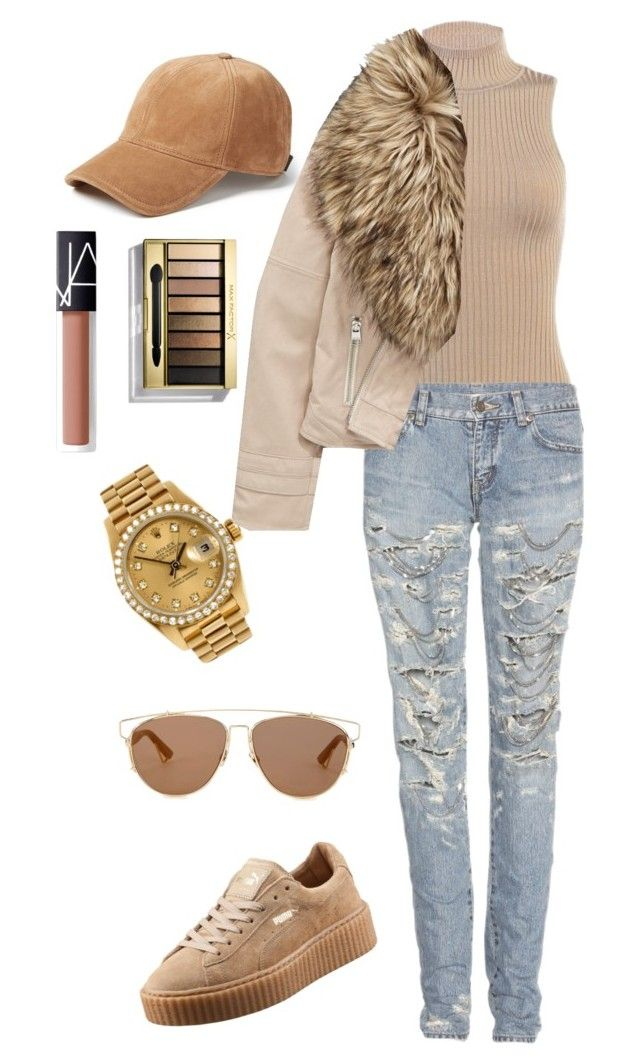 Untitled #8 by anigelb on Polyvore featuring polyvore, fashion, style, Yves Saint Laurent, Puma, Christian Dior, rag & bone, Max Factor, NARS Cosmetics, Rolex and clothing