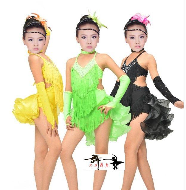 25f95b2a1283 New style child latin dance costumes senior spandex tassel girls ...