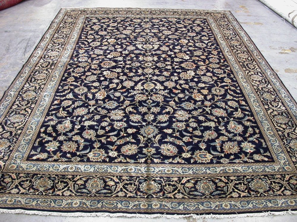 10x16 Persian Oriental Kashan Hand Knotted Large Navy Blue Wool Area Rug Carpet