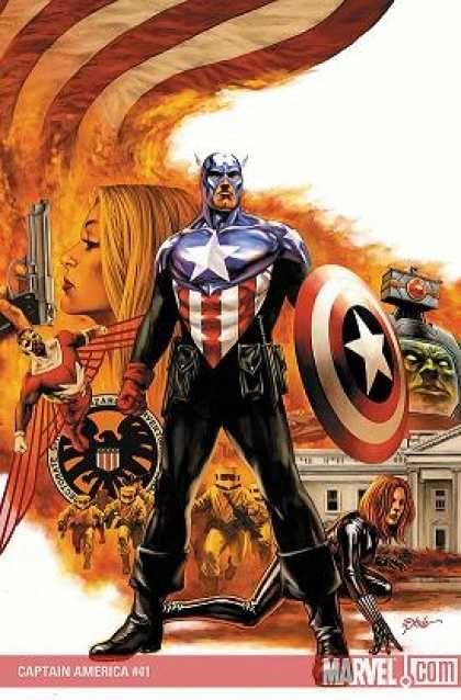 Captain America - Gun - Shield - White House - Flag