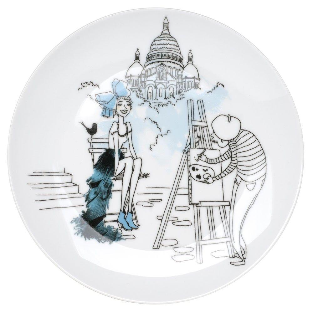 6 Assiettes Dessert En Porcelaine Parisienne La Chaise Longue Peinture Sur Porcelaine Peinture Sur Ceramique Peinture Oiseau