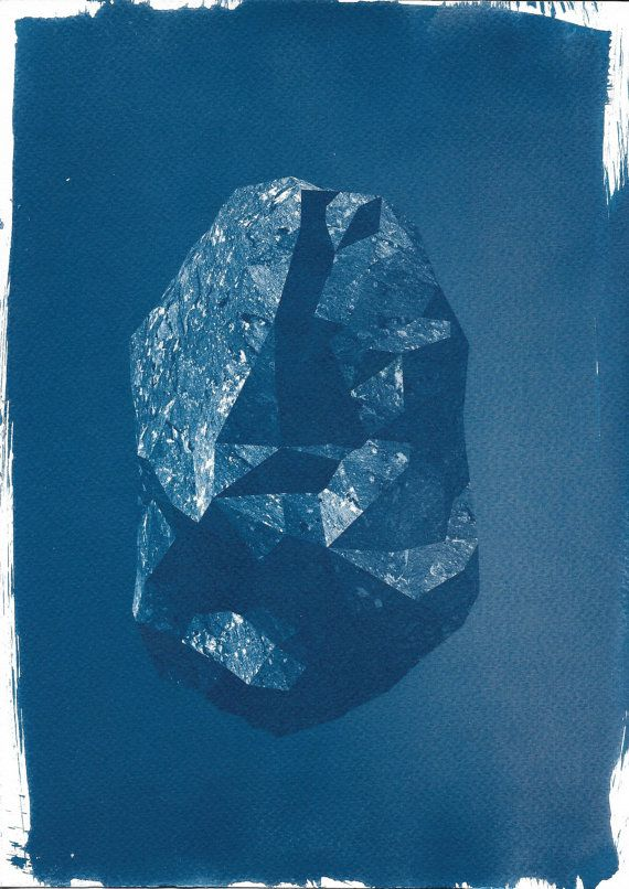Low Poly Rock Cyanotype Print 3d Render 3d Art Rock Art