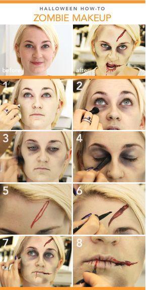 DIY Halloween Zombie Makeup Tutorial Horror make-ups Pinterest - halloween makeup ideas easy