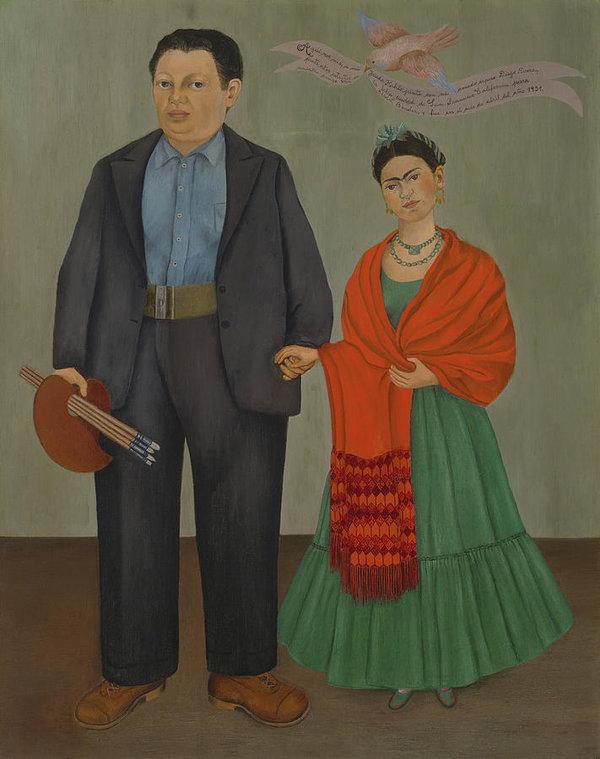 Frida and Diego Rivera Art Print by Frida Kahlo
