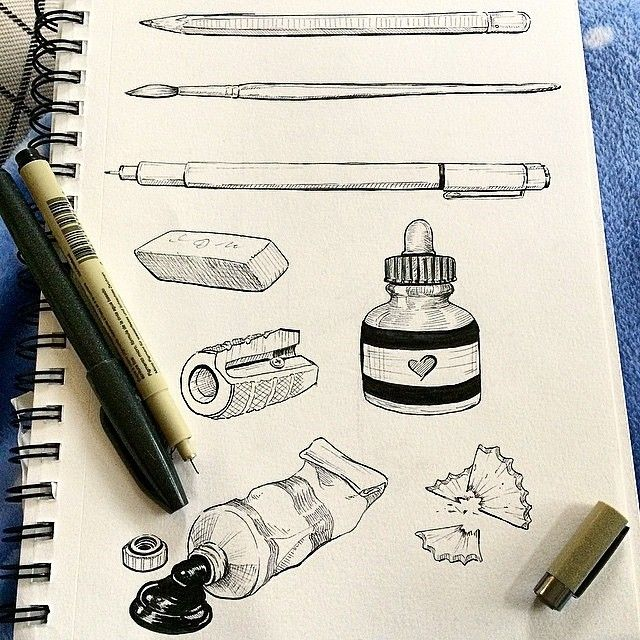 Art supplies, being used to draw art supplies! INCEPTION