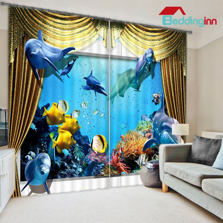 Lifelike 3D Under Sea World Polyester Curtain 3dcurtain