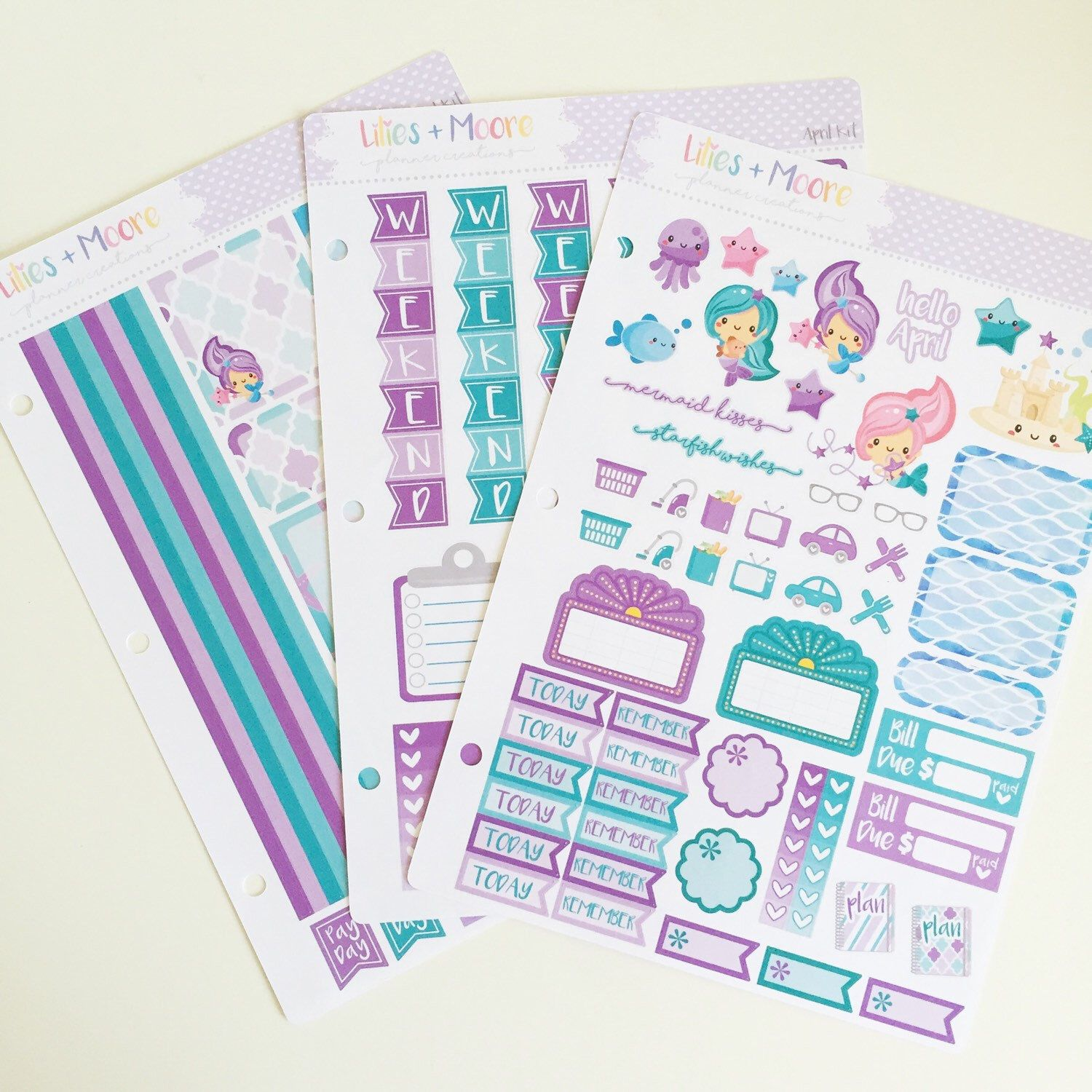 Erin Condren HORIZONTAL April Kit, Mermaid Stickers, April Stickers, Erin Condren Life Planner by liliesandmoore on Etsy https://www.etsy.com/listing/285968669/erin-condren-horizontal-april-kit