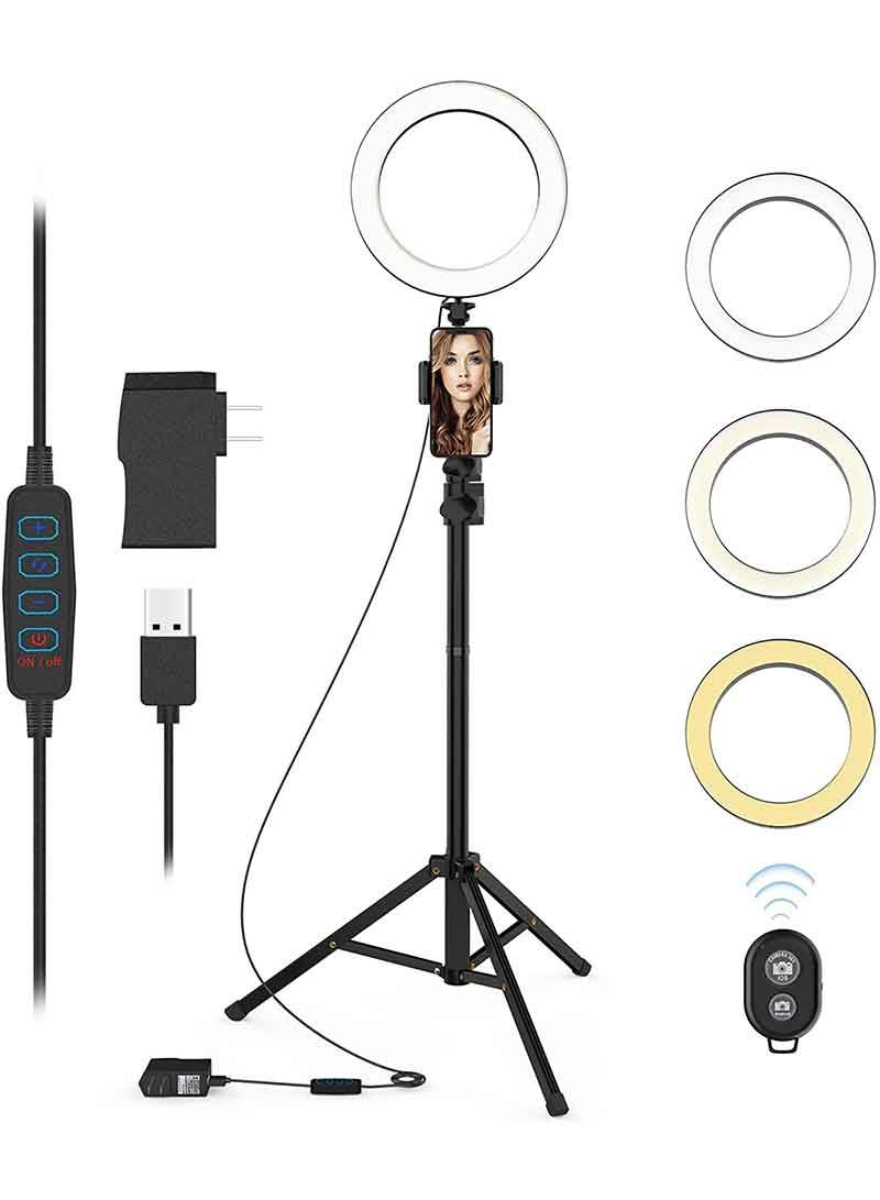 Buy Selfie Ring Light With Tripod Stand And Phone Holder Led Circle Lights Halo Lighting For Make Up Live Steaming In 2020 Selfie Ring Light Selfie Light Circle Light