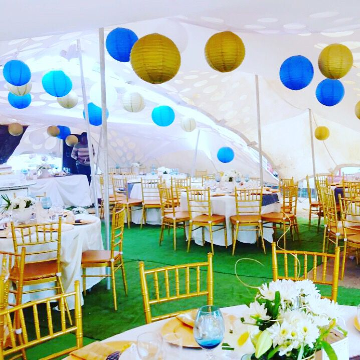 Stretch Tent African Traditional Wedding Decor Gold And Royal Blue