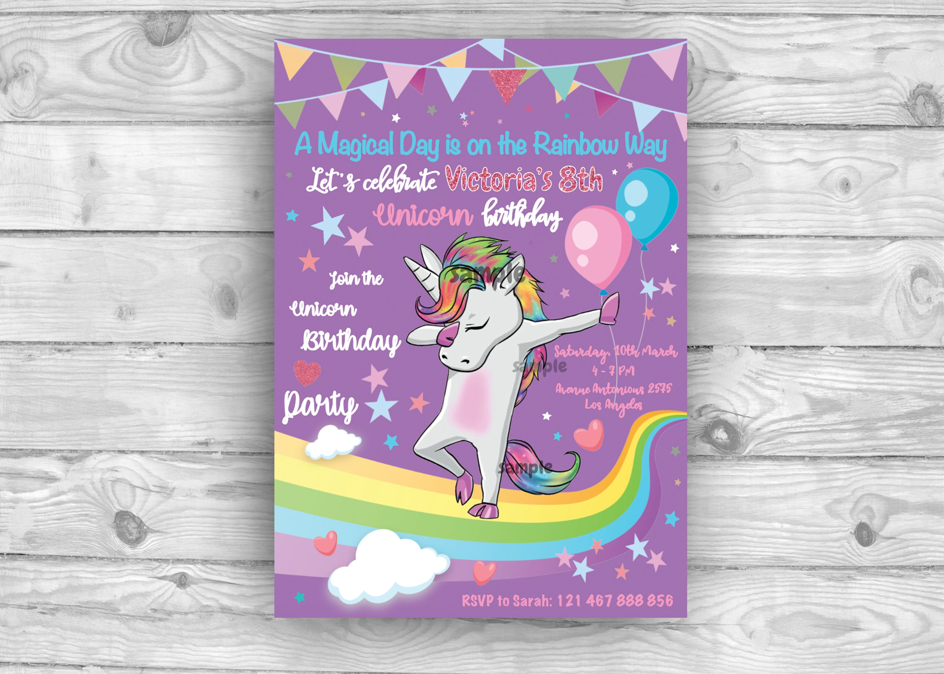 Unicorn Invitation Cute Unicorn Invitation Rainbow Invitation