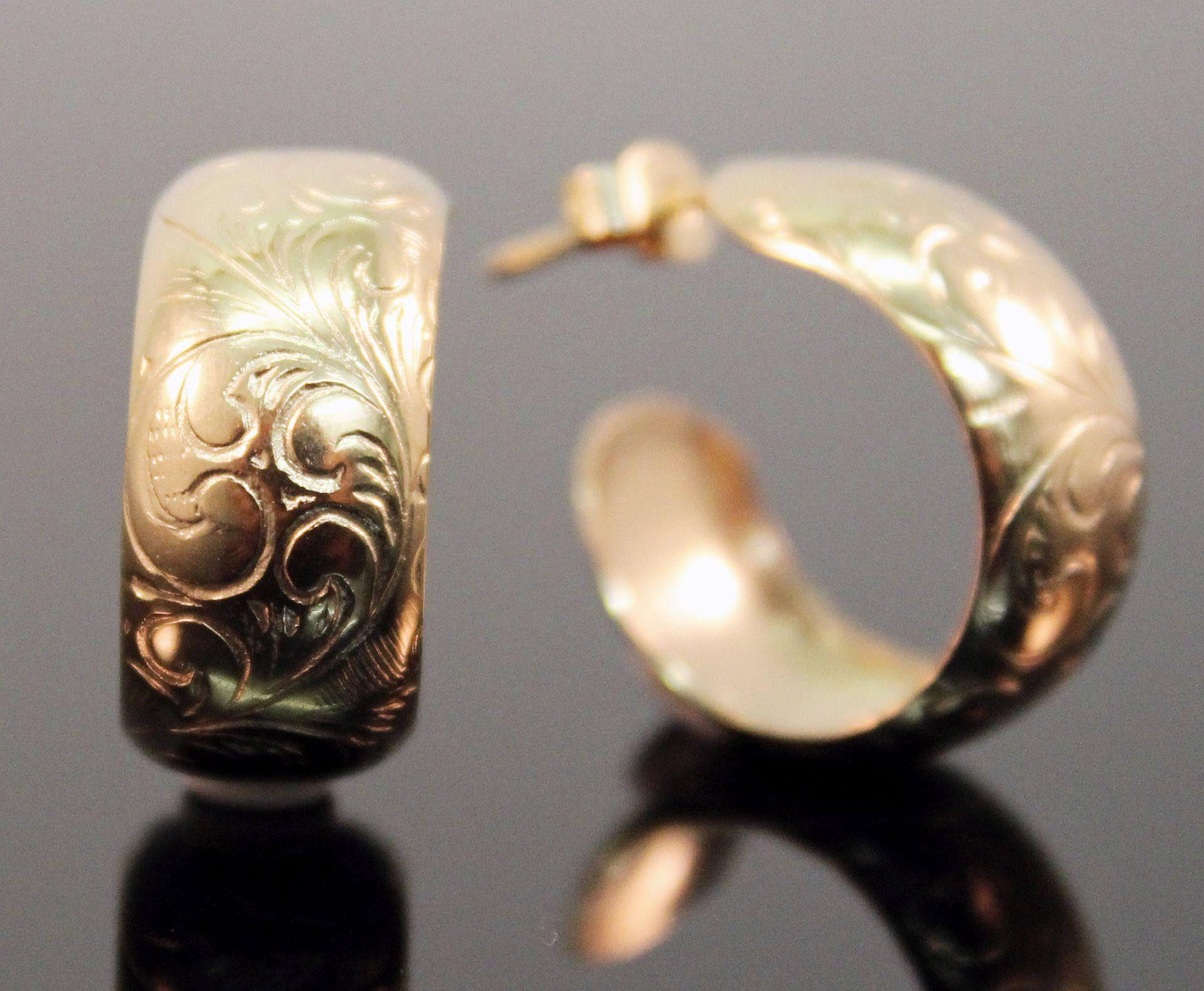 Vintage 70s 9ct Gold Embossed Hoop Earrings UK English Pierced