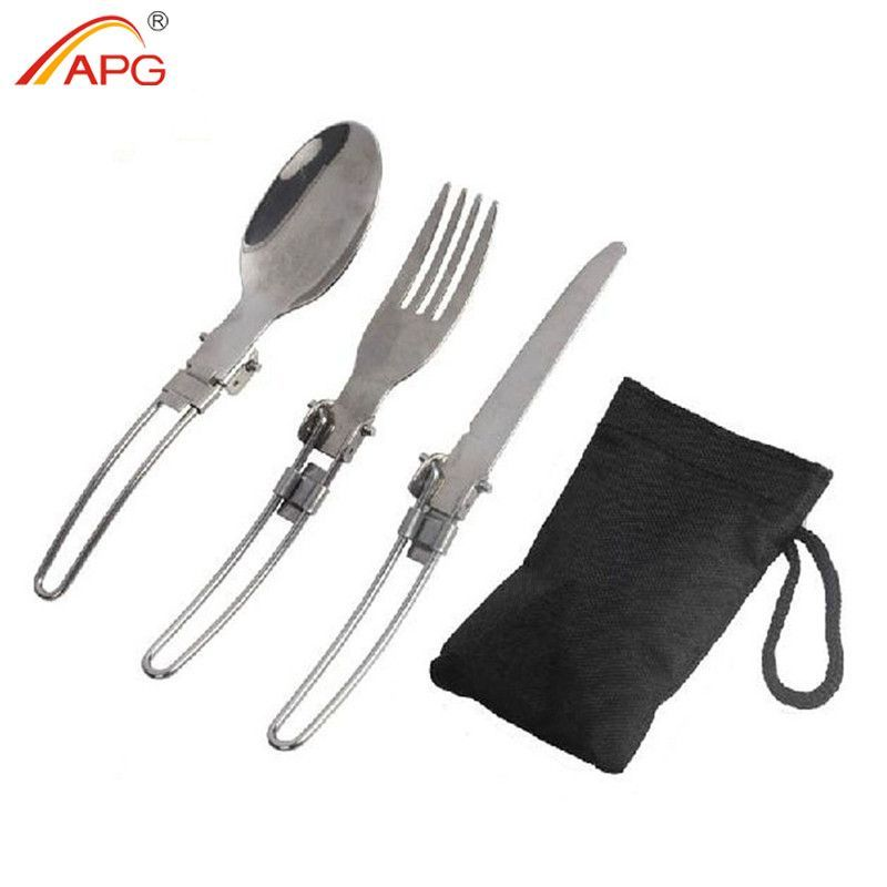 LKEEP Folding Portable Camping Tableware Outdoor Camping Picnic Utensil Fork Spoon Travel Cutlery Set