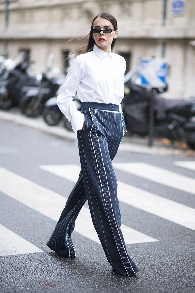 Paris Fashion Week Street Style Spring 2018 Evangelie Smyrniotaki White Shirt Striped Trousers