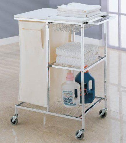 rolling laundry station in chrome finish w 2 shelves canvas laundry basket u0026 wood top