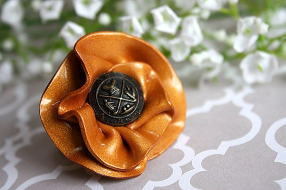 Ruched Gold Ruffle Ring with Vintage Brass Button :)