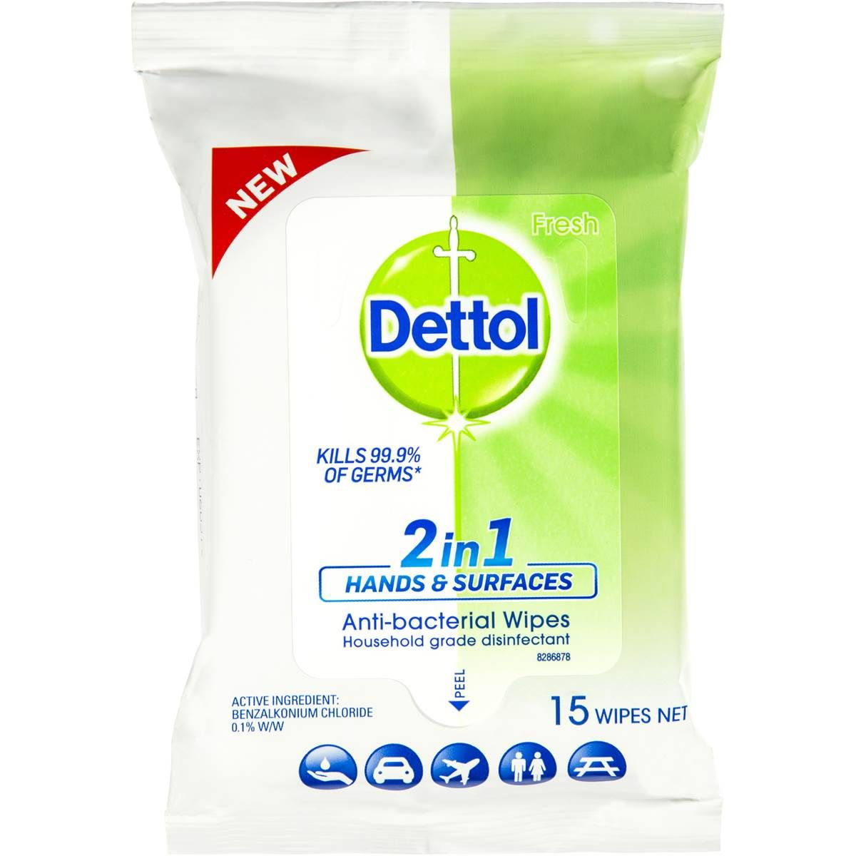 Dettol 2 In 1 Anti Bacterial Wipes Image
