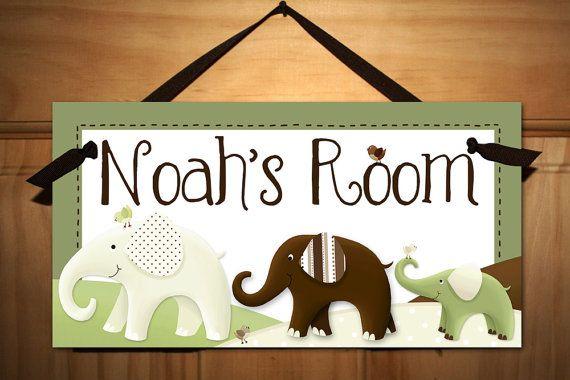 Green and Brown Elephant Boy Girl Nursery Children\u0027s Bedroom DOOR