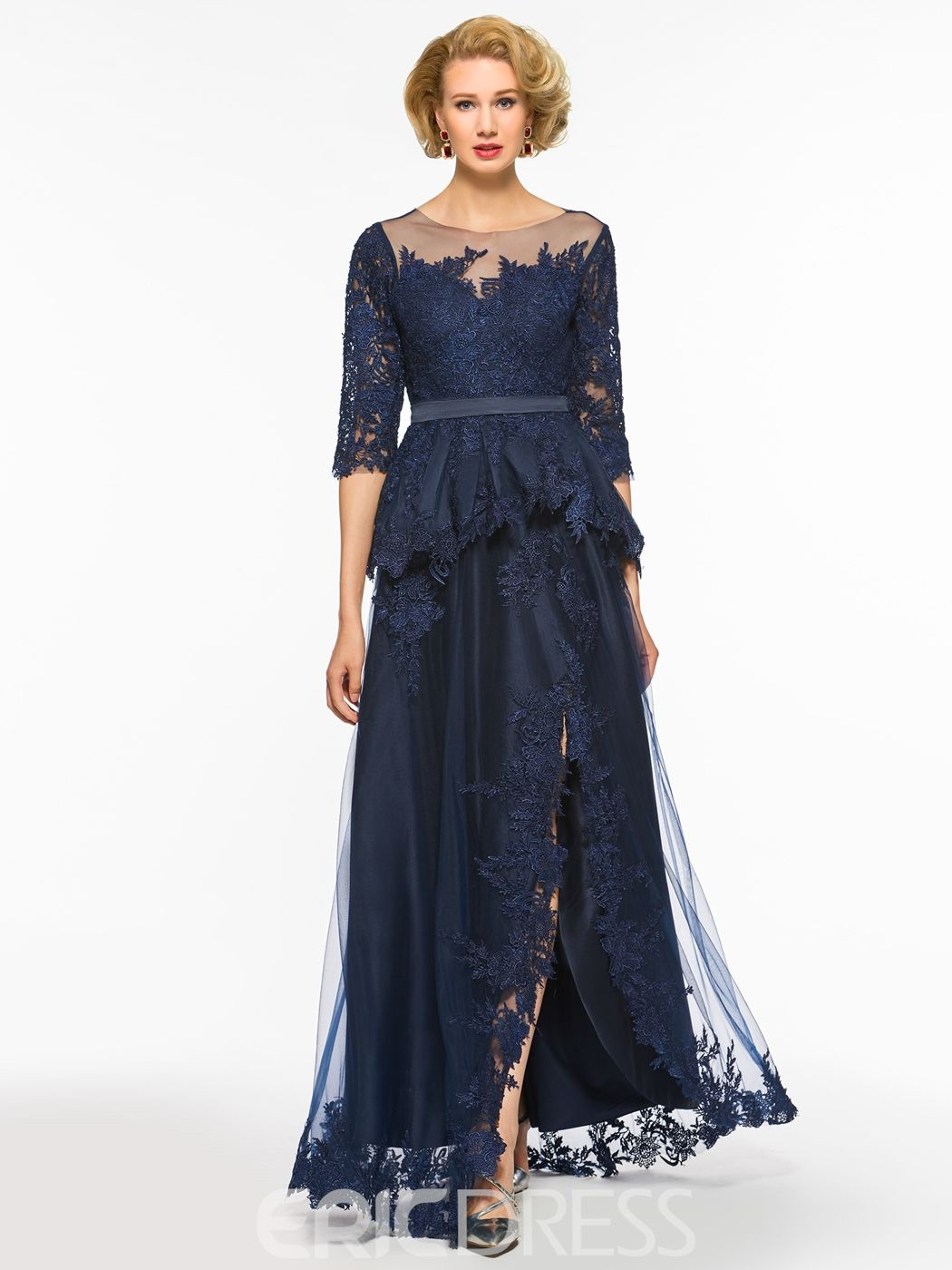 56c5081a72d Ericdress A Line Half Sleeves Split Front Tulle Long Mother Of The Bride  Dress
