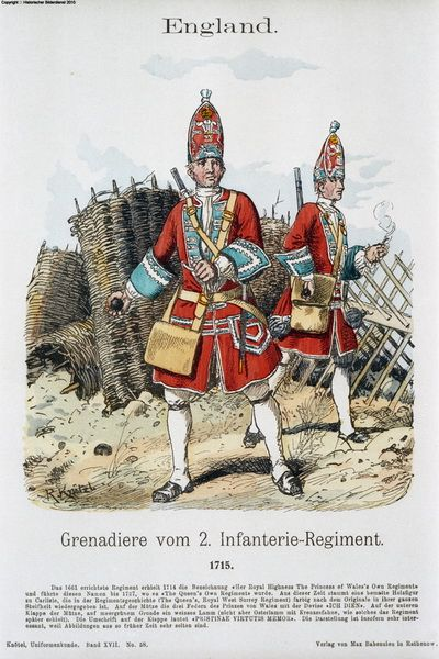 British Grenadiers of the 2nd, 1718.