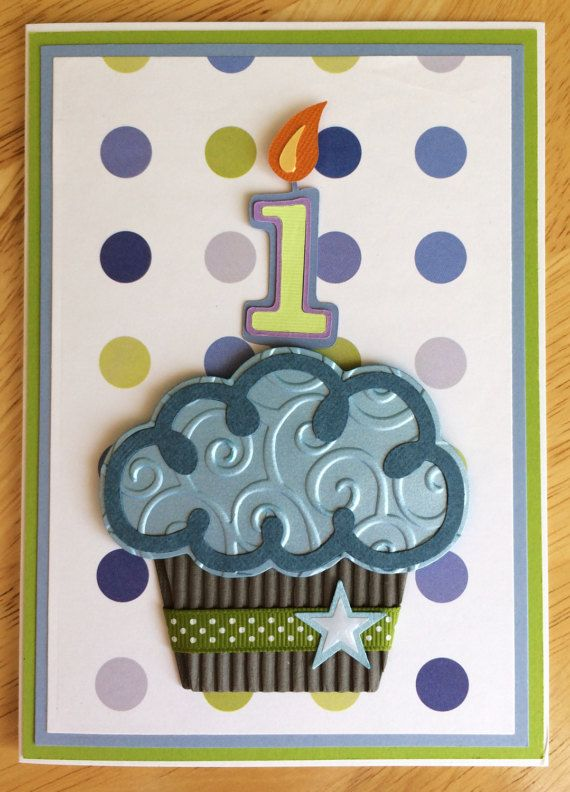 3D Cupcake Handmade Birthday Card 1 2 3 Year Old Boy