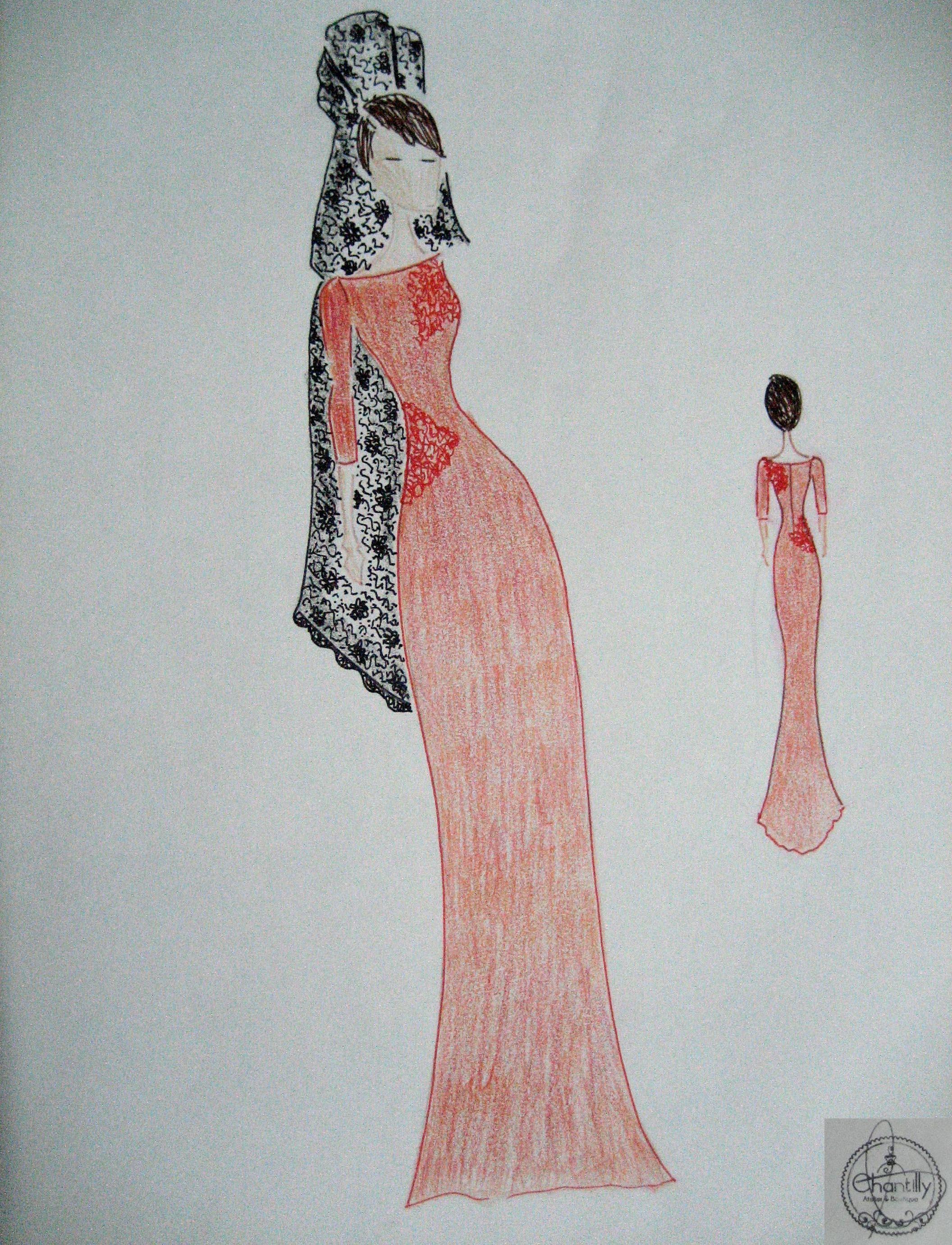 Vestido de Madrina con Mantilla. Realizado en crep con aplicaciones ...