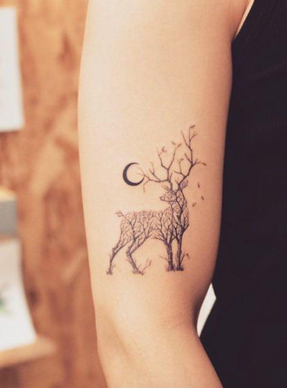 nature animal black henna deer tree arm tattoo ideas at. Black Bedroom Furniture Sets. Home Design Ideas