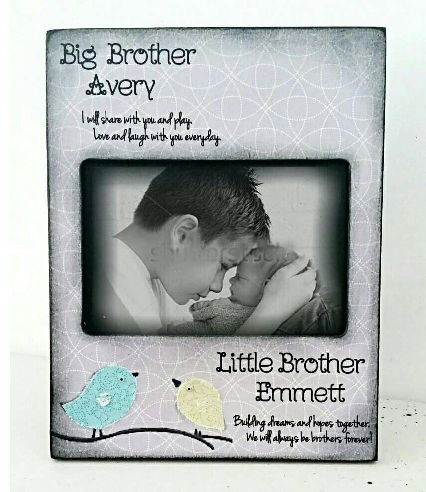 Big brother grey Little brother kids room decor nursery birds name ...