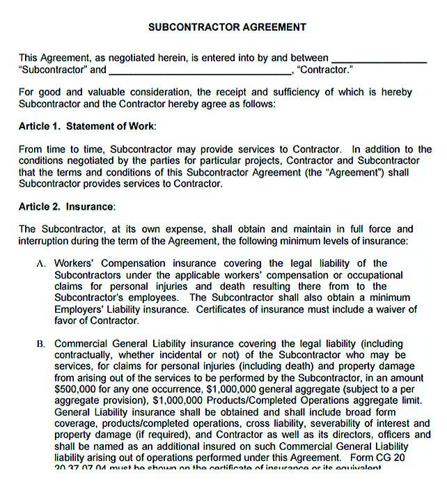 Free Subcontractor Agreement   Subcontractor Agreement