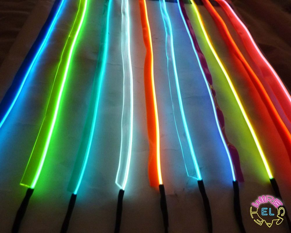 Sewable EL Wire - 1 metre of Tron Glow Wire + Easy Sew Tag Strip ...