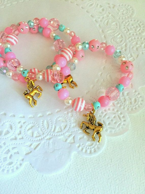 2a50472f3542 Unicorn birthday party favor kids bracelet kids jewelry
