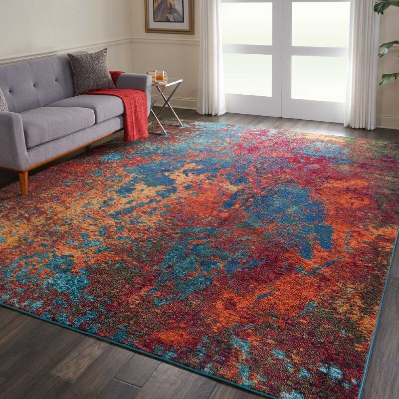Freeland Power Loom Blue Red Rug In 2020 Red Rugs Dark Blue Rooms Blue And Green Living Room