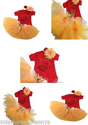 Neon Tutu Pooh Bear Winnie Sparkle T-Shirt Baby Grow 80S Fancy Dress Party SHOW