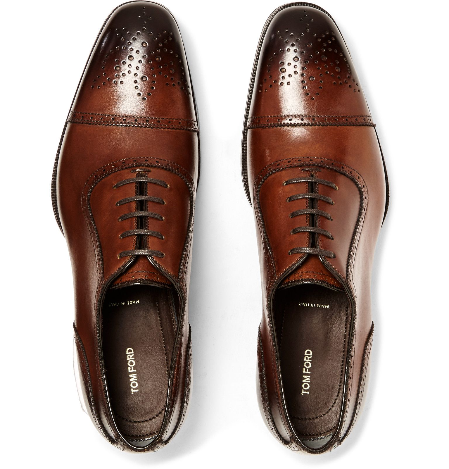 Tom Ford Austin Cap Toe Burnished Leather Oxford Brogues