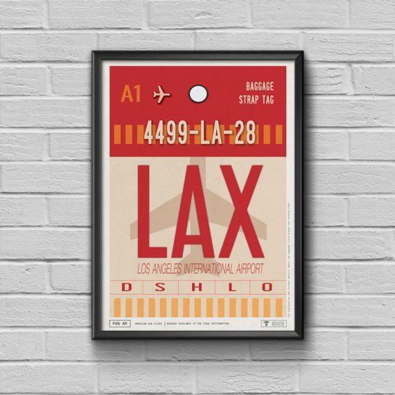 Vintage Los Angeles Luggage Tag Framed Travel PosterAirport
