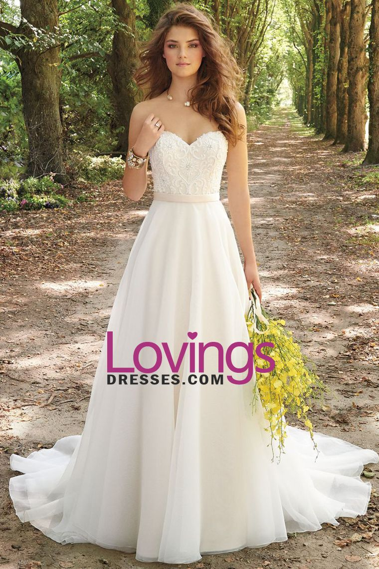 2016 A Line Wedding Dresses Sweetheart Organza With Applique And ...