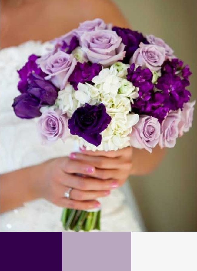 Wedding bouquet, minus the midrange purple flowers and add in ...