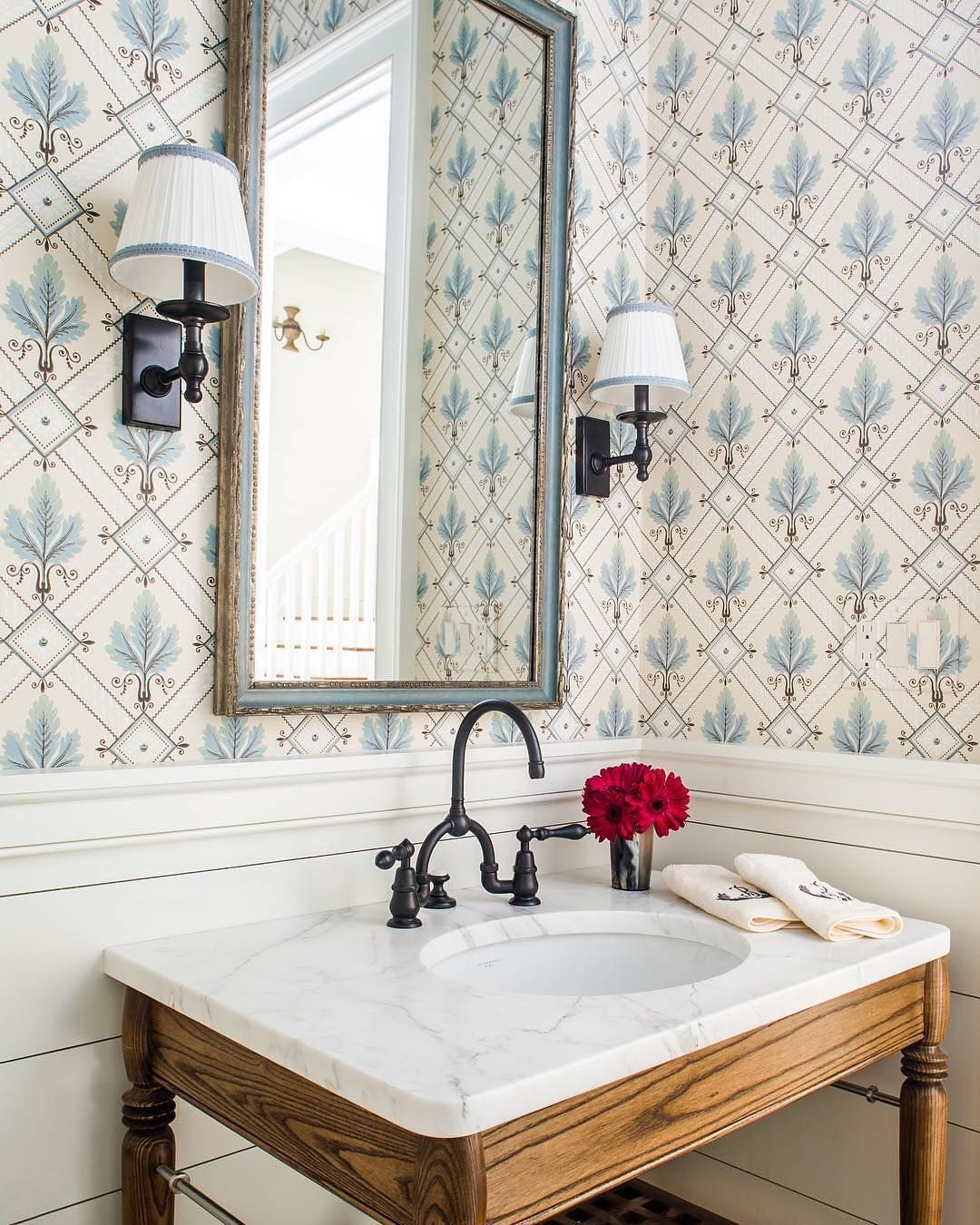 Brunschwig Fils On Instagram Pretty Powder Room Latrobe Wallcovering Gooddesig Marble Bathroom Decor White Marble Bathrooms Marble Bathroom Accessories