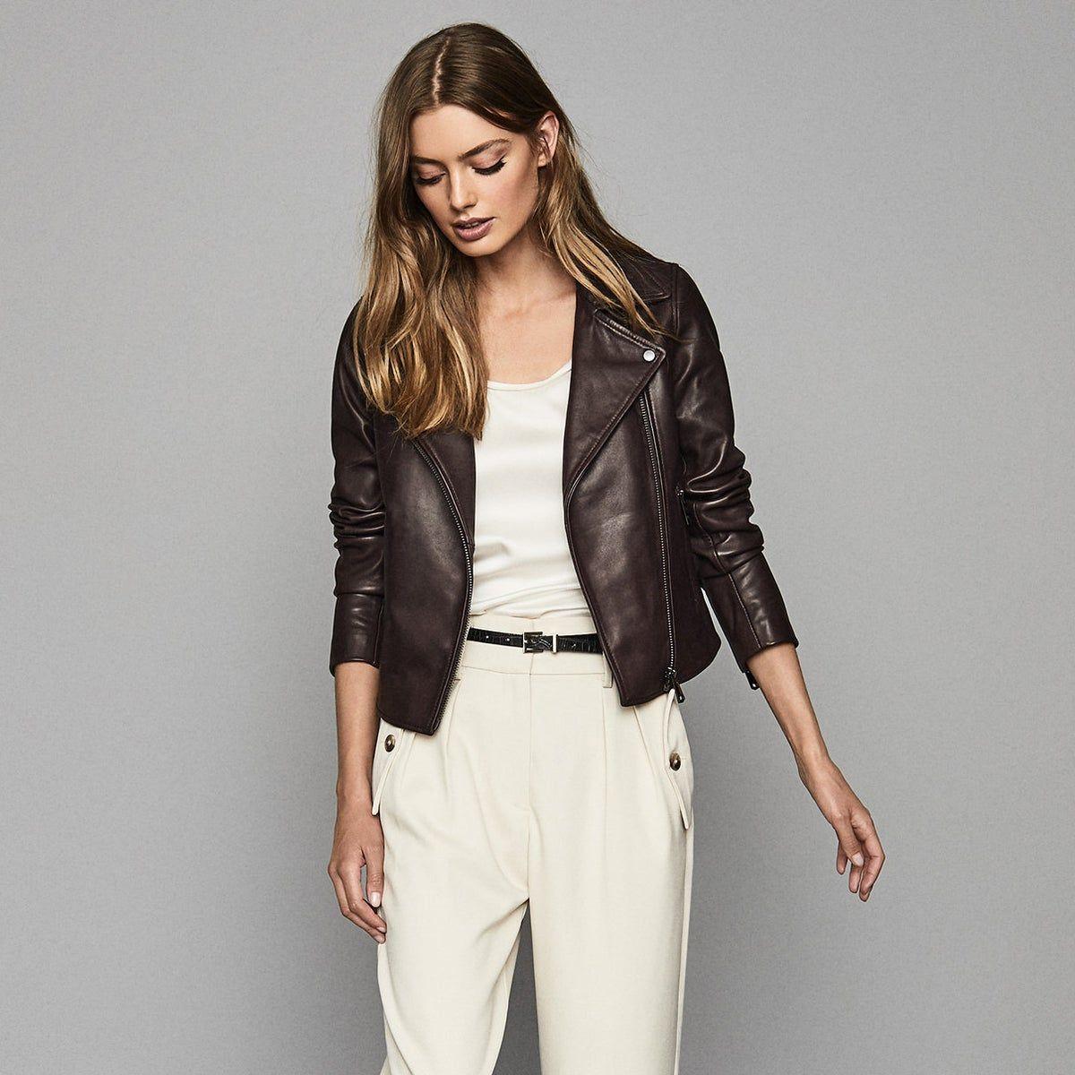 Geo Oxblood Leather Biker Jacket Reiss Trendy Fashion Outfits Womens Leather Biker Jacket Trendy Outfits [ 1200 x 1200 Pixel ]