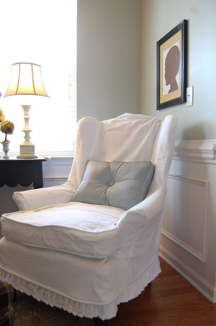 Country White Linen Armchair Cover With Half Skirt With Wingback Sofa  Slipcover Also Slipcovers