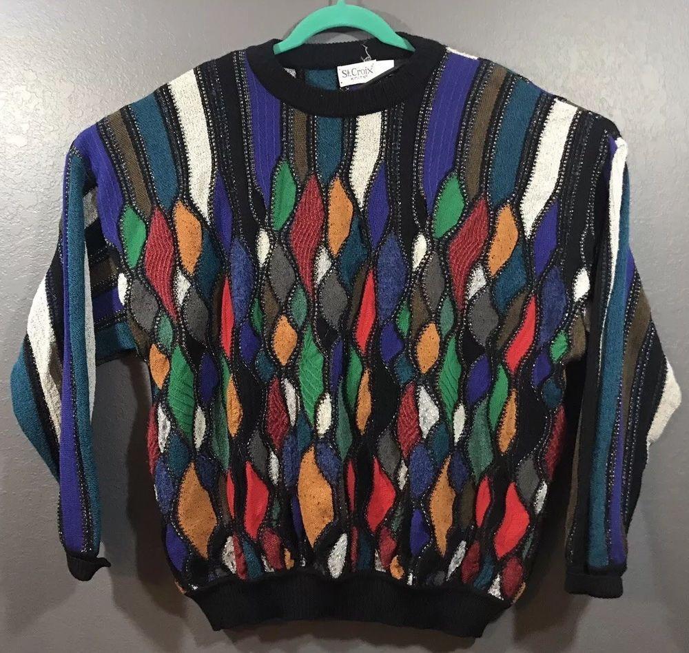 Vtg St Croix Knits Mens Coogi Style Cotton Multicolored 3d Sweater Sz L Vgc Ebay Sweaters Vintage Outfits Cotton