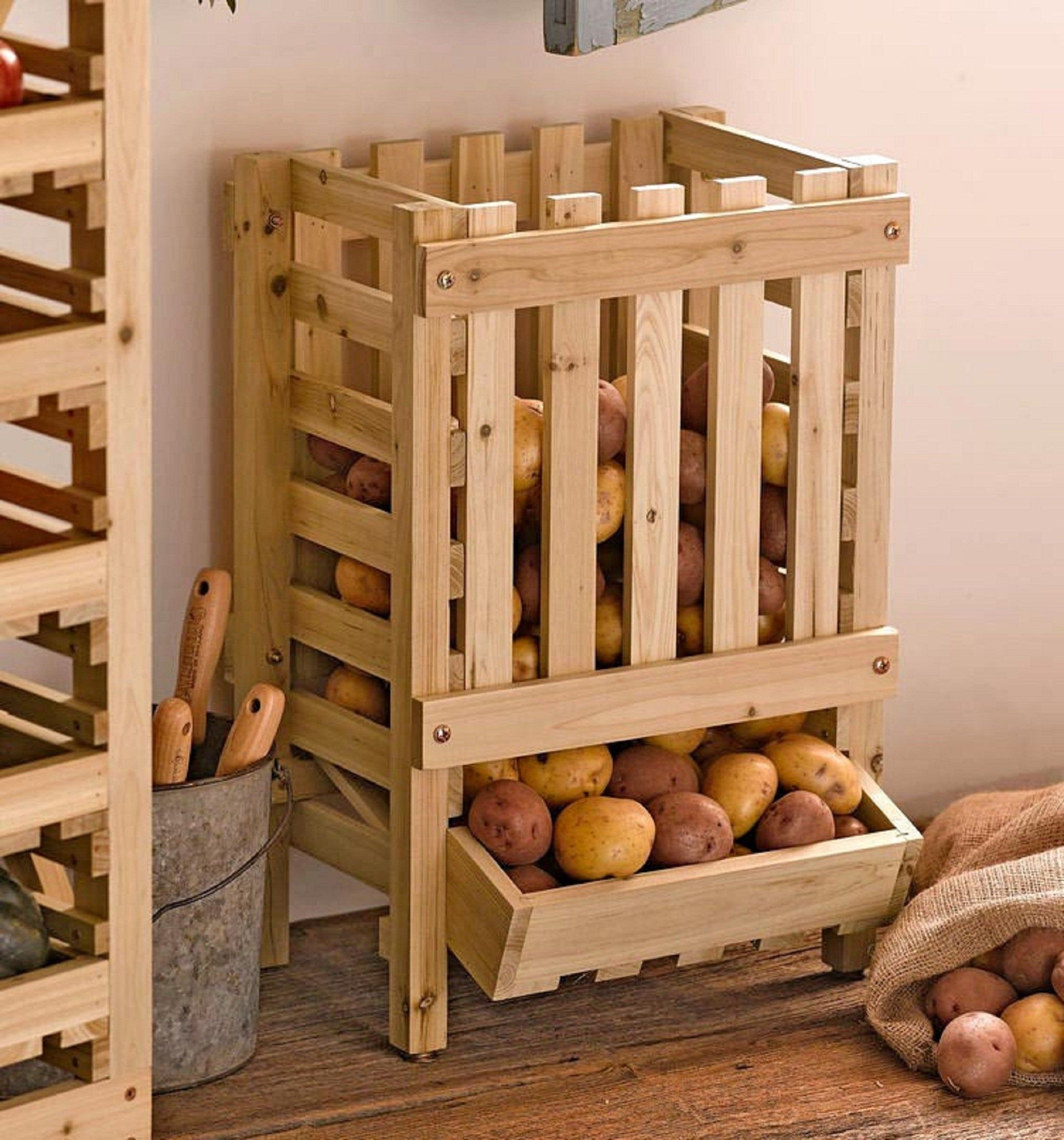 Crate Kitchen Organizer Wooden Crate Apple Crate Vegetable Box Etsy In 2020 Potato Storage Rustic Outdoor Furniture Rustic Kitchen Decor