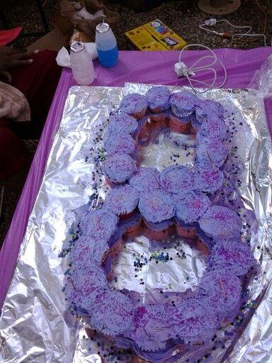 Pink n Purple #8 Cupcake Cake ...first time making
