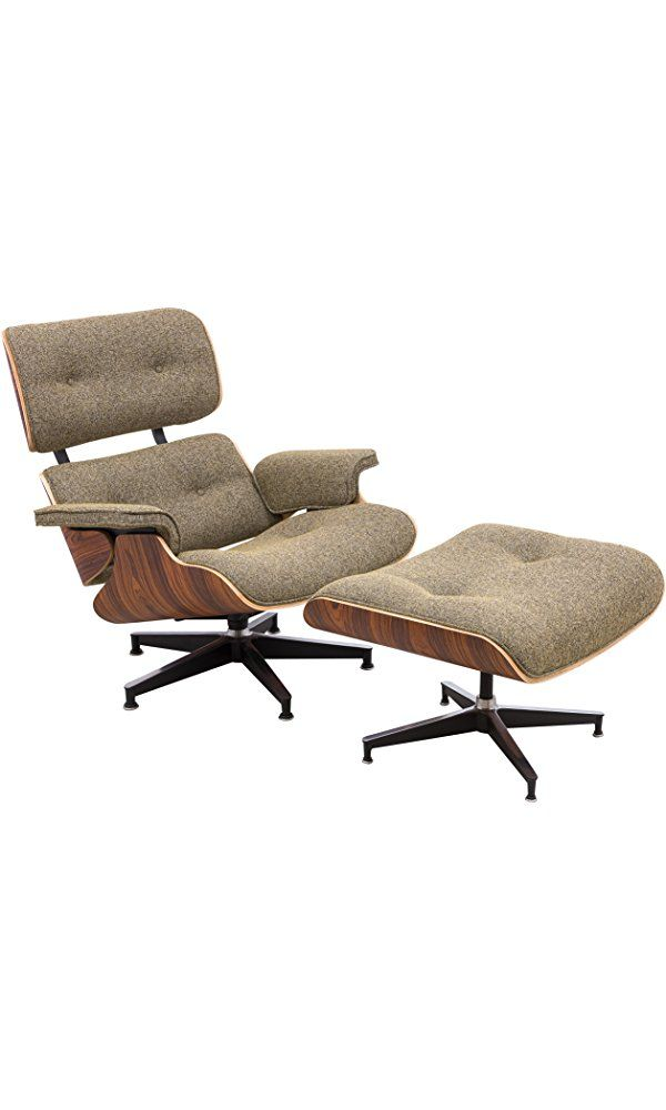 LeisureMod Modern Classic Plywood Zane Lounge Chair & Ottoman With Palisander in Oatmeal Twill Best Price