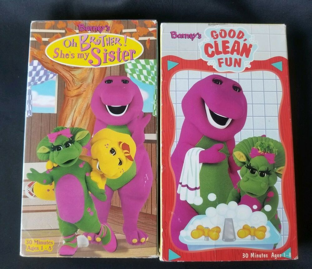 Barney Lot Of 2 90 S Vhs Oh Brother She S My Sister Good Clean Fun Best Cleaning Products Barney Night Before Christmas Barney