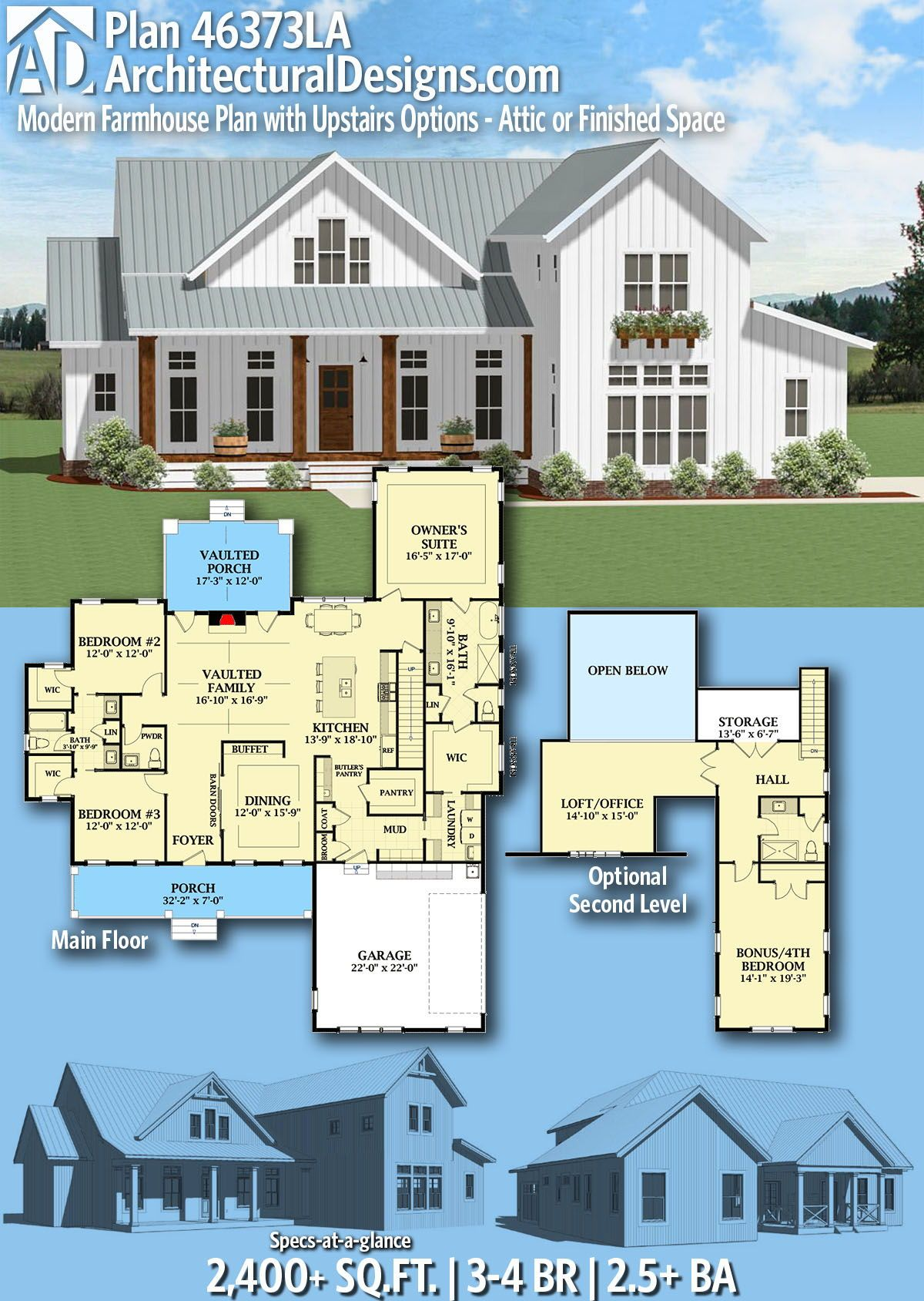 Plan 46373la Modern Farmhouse Plan With Upstairs Options Attic Or Finished Space Farmhouse Plans Modern Farmhouse Plans House Plans Farmhouse