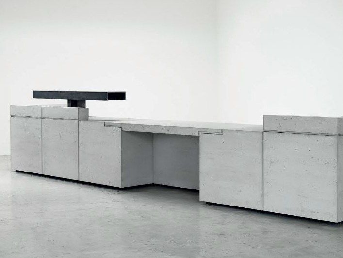 modular lightweight concrete reception desk lintel by isomi design