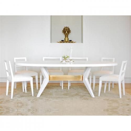 Fulton Oval Dining Table Niedermaier Shown In White Lacquer Polished Bronze With Chair